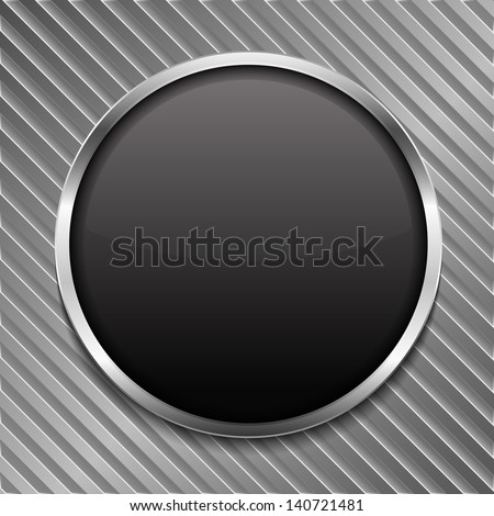Round black board on striped metal background, vector eps10 illustration - stock vector
