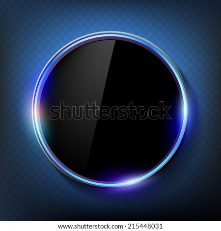round black screen on a blue background - stock vector