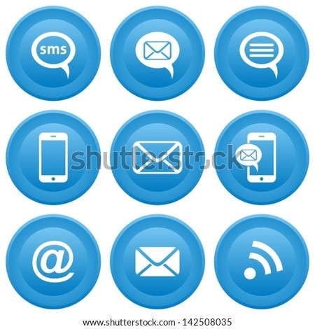 Round blue buttons with communication icons, mobile, sms, e-mail