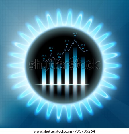 Round Blue Flame Butane Financial Graph Stock Vector Royalty Free