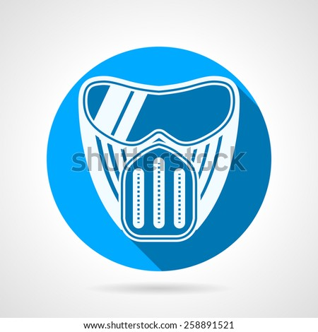 Round blue flat vector icon with white silhouette paintball protection mask a front view on gray  background. Long shadow design  - stock vector