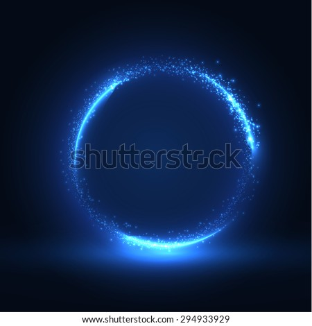 Round blue shiny frame background. Technology background. Vector eps10. - stock vector