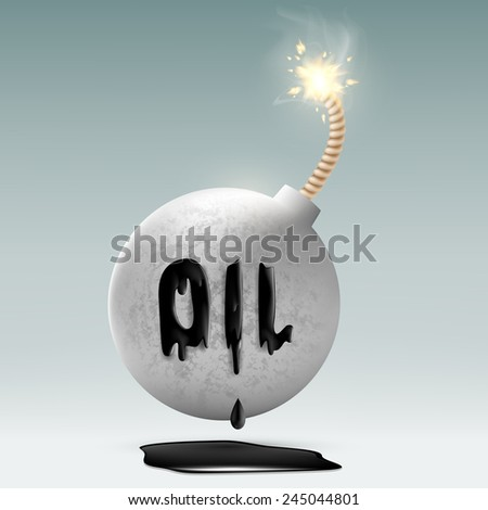 round bomb with a fuse and an inscription oil - stock vector