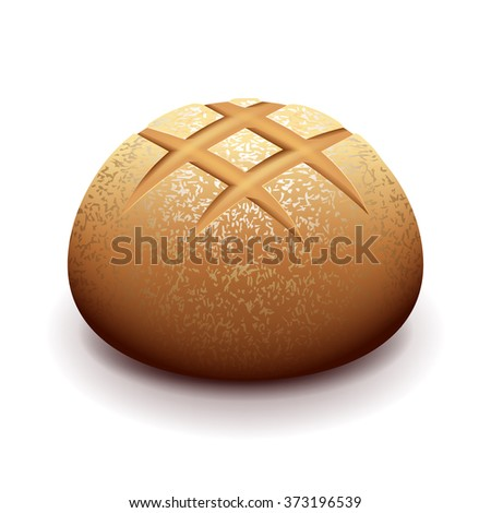 Round bread isolated on white photo-realistic vector illustration - stock vector
