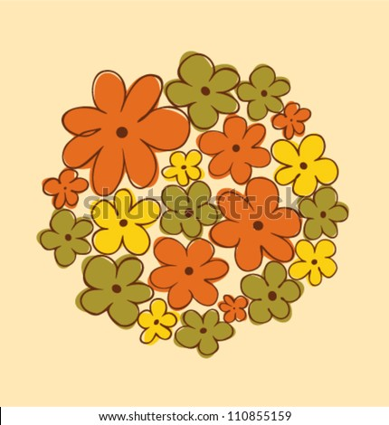 Round bunch of flowers. Flowers bouquet. Can be used for greeting and wedding cards, gifts, postcards, invitations, arts. Round shape made from flowers. - stock vector