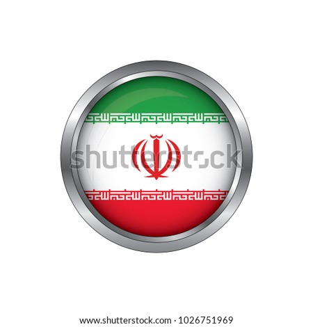 Round button national flag of Iran with the reflection of light and shadow. Icon country. Realistic vector illustration.
