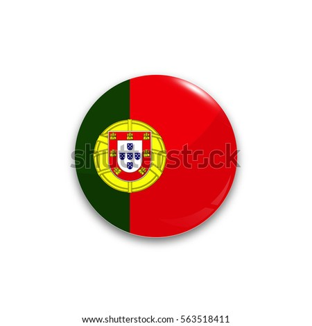 Round button national flag of Portugal with the reflection of light and shadow realistic. Icon country.