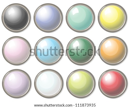 Round buttons Colored set of round buttons - stock vector