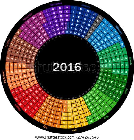Round calendar 2016 - stock vector