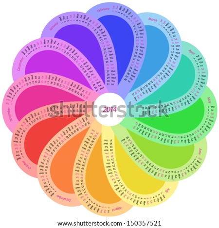 Round calendar for 2014 in rainbow color - stock vector
