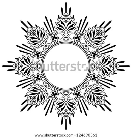 Round calligraphic floral border design element with a central circular blank area for your text, eps8 vector - stock vector