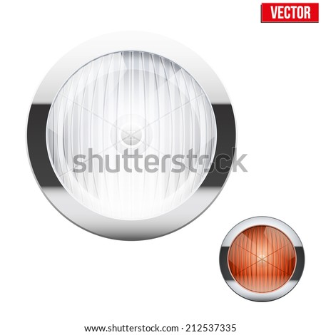 Round car headlight and turn indicator. Vintage Vector Illustration isolated on white background. - stock vector