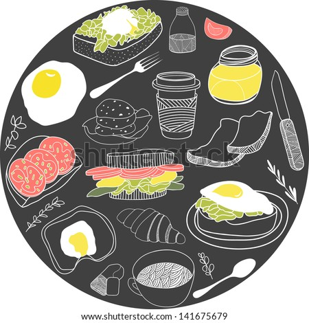 Round card with breakfast icons. Vector illustration set. Hand drawn food theme for backgrounds, fabric, kitchen and cafe stuff - stock vector