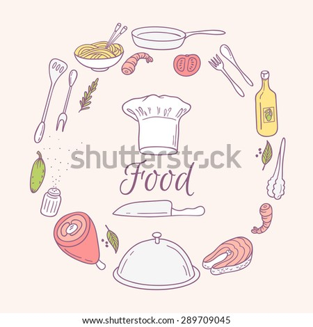 Round card with doodle food icons. Hand drawn elements for menu, cafe. Culinary background. Vector Illustration - stock vector