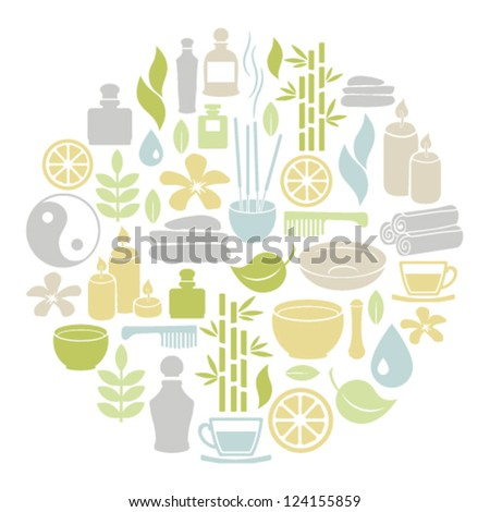 round card with spa icons - stock vector