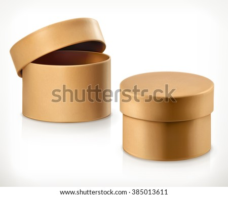 Round cardboard box, vector - stock vector