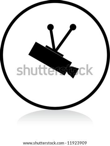 round CCTV sign - BLACK version - stock vector
