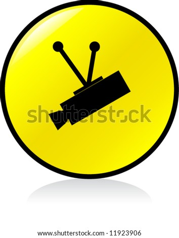 round CCTV sign - YELLOW version - stock vector