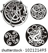 Round Celtic Knots. Vector Set. - stock vector