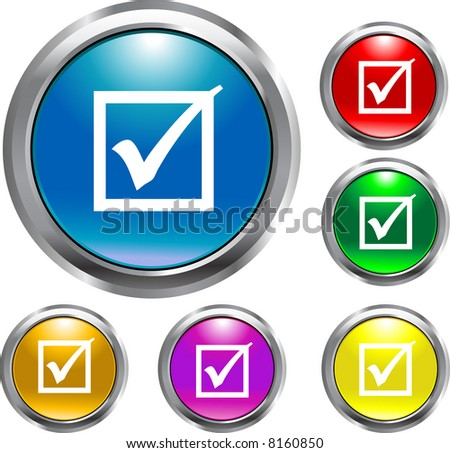 Round Check Mark Buttons - stock vector