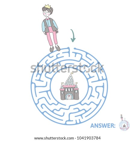 Round Childrens Maze Prince Fairytale Castle Stock Vector 1041903784