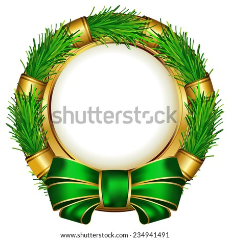 Round chrismas frame with bow on white background - stock vector