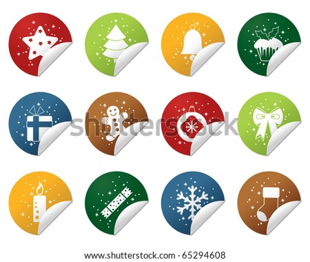 round christmas sparkle stickers isolated on white - stock vector