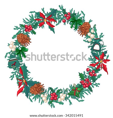 Round Christmas wreath with fir cones and gift boxes isolated on white. For festive design, announcements, postcards, posters. - stock vector