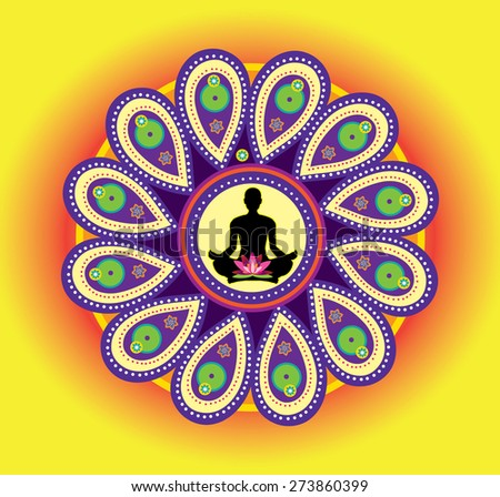 Round circle icon for yoga lotus sitting posture  (vector) - stock vector
