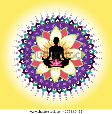 Round circle icon for yoga lotus sitting posture  (vector)