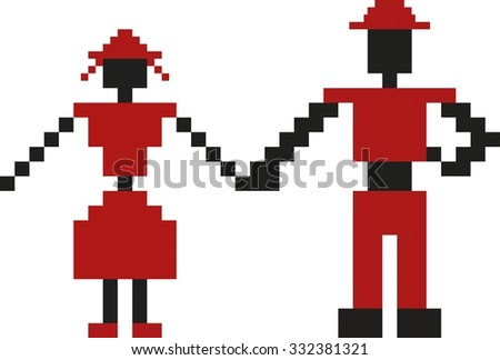 Round circle: man and woman. Romanian traditional dance - stock vector