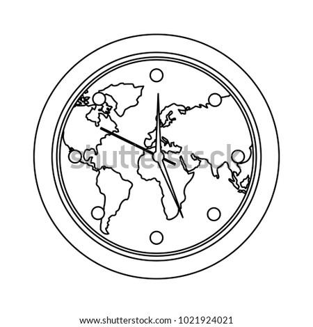 Round clock on world map stock vector hd royalty free 1021924021 round clock on world map gumiabroncs Images