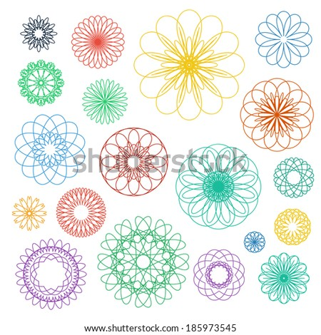 Round color ornament set. Vector spirographs collection - stock vector