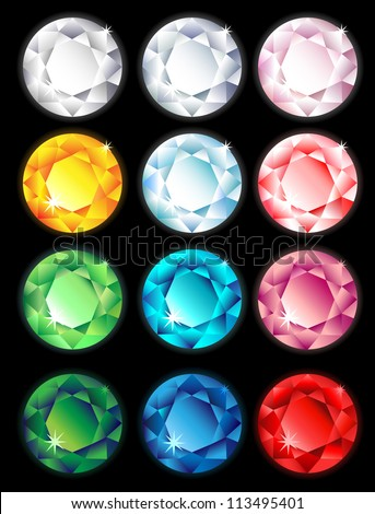 Round Colorful Diamond Stone with shine on black background - stock vector