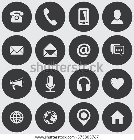 round communication icon set vector flat stock vector royalty free 573803767 shutterstock. Black Bedroom Furniture Sets. Home Design Ideas