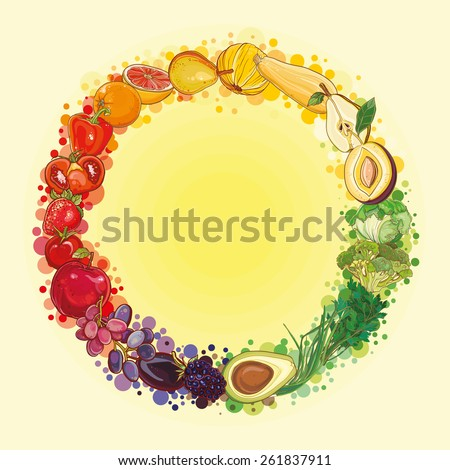 Round composition with bright, fresh, juicy fruits and vegetables. Vector color vegetables icon.  Healthy lifestyle illustration for print, web. Food circle. eps 10 - stock vector