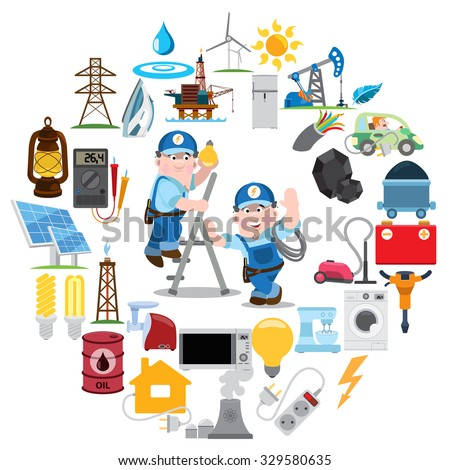 Round composition with electricians, industry, energetics, electricity - stock vector