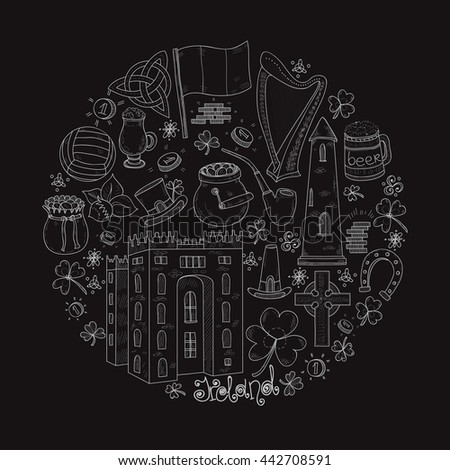 Round composition with Ireland related hand drawn icons including irish coffee; irish round tower and others. Doodle vector Ireland related collection - stock vector
