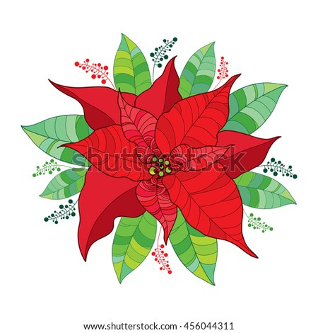 Round composition with vector Poinsettia flower or Christmas Star in red isolated on white. Outline flower and leaves of Poinsettia for Christmas decor. Traditional Christmas and Happy New Year symbol - stock vector