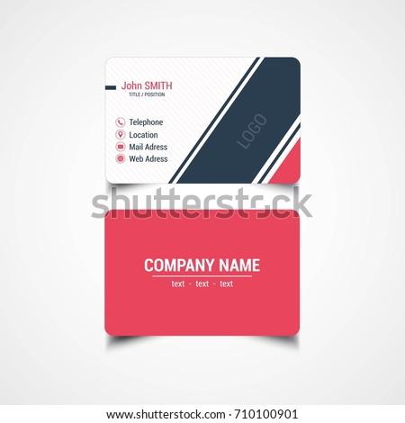 Round Corner Business Card Template Vector Stock Vector - Rounded corner business card template