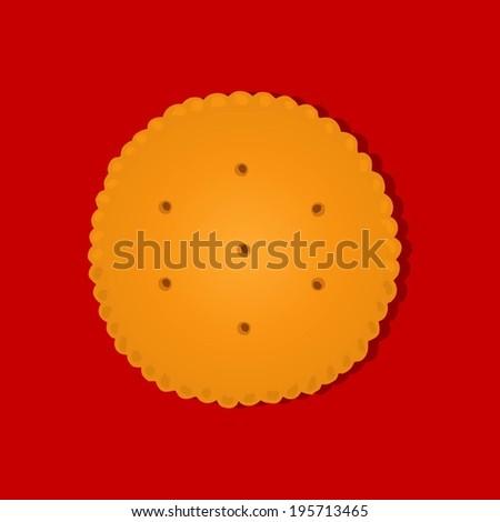 Round Cracker icon - stock vector