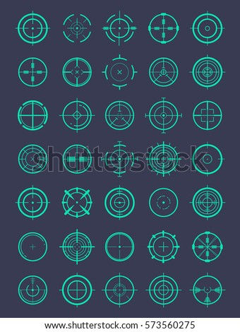 Round crosshairs for video games and applications. Vector illustrator big set.