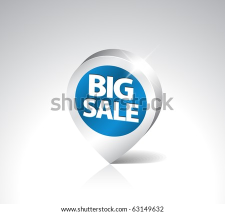 Round 3D pointer for big sale - blue with silver border - stock vector