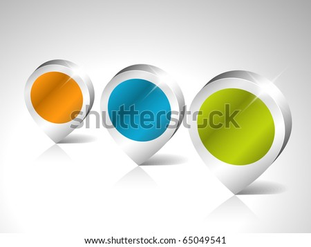 Round 3D pointers with place for your content - stock vector
