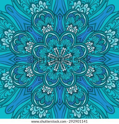 Round decorative blue mandala.  Circle background with many details. Vector illustration. Illustration for greeting cards, invitations, and other printing projects. - stock vector