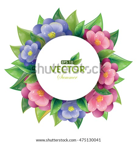 Round design of green leaves and violet flowers isolated on white, vector illustration, eps-10