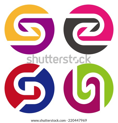 """Round design vector logo template. """"s"""", """"z"""", """"G"""", """"n"""" letters icon set. You can use in the commerce, traffic, financial, construction and communication concept of pattern.  - stock vector"""
