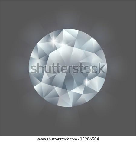 Round diamond - stock vector