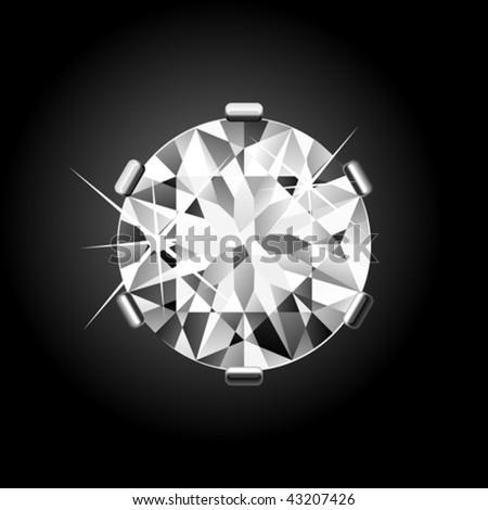 Round Diamond. Vector. - stock vector