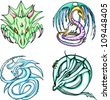Round dragon designs. Set of color vector illustrations. - stock photo